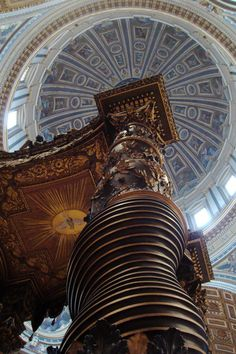 """Baldacchino"" by Paul Vanasse, via 500px.  The Baldachin of St. Peters Basilica. Commissioned by Pope Urban VIII, the work began in 1623 and ended in 1634. The pillars are 20m high."