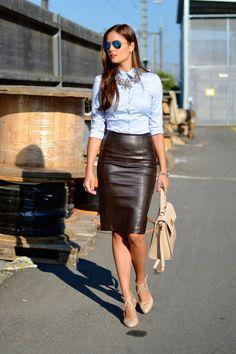 Lara Caspari: Stylish Ways to Wear Leather Ensembles at Work black leather pencil skirt, blue button down, statement necklace + nude heel