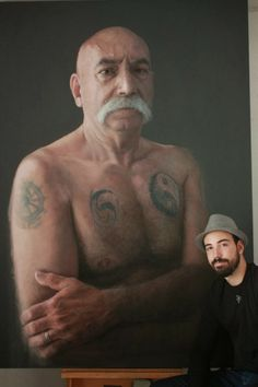 Portrait art is a real talent but making realistic art out of chalk is just wild. Check out this nuts album featuring Rubén Belloso Adorna. Hyper Realistic Paintings, Realistic Drawings, Art Drawings, Pinturas Em Tom Pastel, Old Men With Tattoos, Hyperrealistic Drawing, Design Spartan, Art Du Monde, L'art Du Portrait