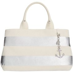 Tommy Hilfiger Jolene Metallic Rugby Stripe Shopper Tote ($108) ❤ liked on Polyvore featuring bags, handbags, tote bags, silver, tommy hilfiger handbags, stripe tote, white tote bag, striped tote and white shopping bags