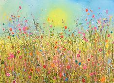Birdsong and Butterflies is an original artwork by Yvonne Coomber using oil paint on a canvas surface. #wildforflowers #flowerart #originalart #oilpainting