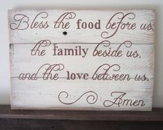 Bless The Food, Family and Love Amen Dinner Prayer Rustic Kitchen Sign