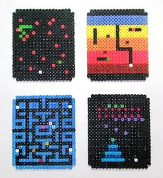 Retro Arcade set of 4 Perler Bead Coasters by beadforge Perler Bead Designs, Diy Perler Beads, Perler Bead Art, Pearler Beads, Melty Bead Patterns, Pearler Bead Patterns, Perler Patterns, Perler Coasters, Cuadros Diy
