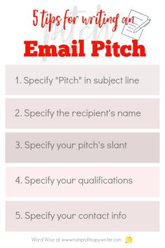 5 tips for writing an email pitch with Word Wise at Nonprofit Copywriter #FreelanceWriting Easy Writing, Article Writing, Blog Writing, Writing Tips, Email Application, Blog Websites, Write An Email, Writing Letters, Email Subject Lines