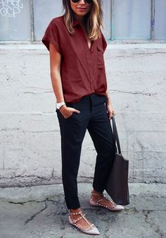 Burgundy Short-Sleeved Button Down Shirt | |Work Clothes for Women | Women Shirts | Office look | $22.00 USD | available at Lookbook Store ♦F&I♦