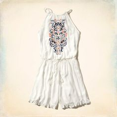 Embroidered Peasant Romper