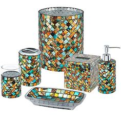 Add a dazzling and chromatically radiant touch to your bathroom. All the bathroom accessories in the Bermuda Bath Ensemble are decorated beautifully with a handcrafted mosaic of multi-colored glass.
