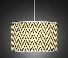 30cm Yellow Mustard Grey Retro Geometric Handmade Giclee Style Printed Fabric Lamp Drum Lampshade Floor or Ceiling Pendant Light Shade 523: Amazon.co.uk: Lighting