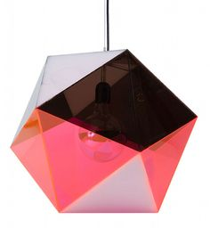 #Geometric #Pendant #Light #Angles #Angular #Polygon #Suspended #Suspension #Lighting #Pink #Hexagon