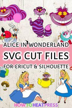 Alice In Wonderland SVG Files For Cricut Silhouette Cricut Heat Transfer Vinyl, Cricut Iron On Vinyl, Cricut Tutorials, Cricut Ideas, Embroidery Monogram, Silhouette Projects, Silhouette Cameo, Personalized T Shirts, Svg Files For Cricut