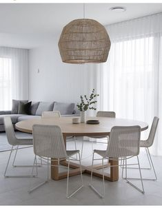 Home Decor Bedroom, Home Living Room, Living Spaces, Round Dining Table, Dining Chairs, Dining Room, Chandelier, Interior Decorating, Interior Design