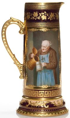 Berlin Porcelain ~ tankard ~ Exhibiting a monk pouring from a fancy stein into a plain stein ~ The opposong side shows a monk who totes a wooden keg under his arm while holding a metal candlestick ~ Stein is brightly lit with a flourish of leaves ~ Greek key ~ Raised designs in shiny gold luster applied over a maroon luster backdeop with a touch of apricot near the base ~ Origin Germany ~ Circa 1850-1900 German Beer Glasses, German Beer Steins, Beer Company, Beer Mugs, Greek Key, Beer Lovers, Vintage Dolls, Antiques, Flourish