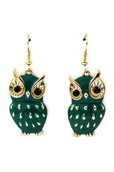 Teal Owl Earrings.