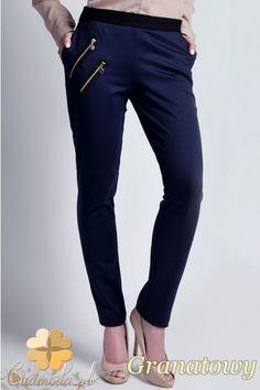 Damskie spodnie rurki firmy Lanti z kontrastowym paskiem.  #cudmoda #ubrania #odzież #sklep #clothes
