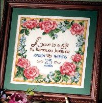 Free Cross Stitch Patterns: Love is a Gift Wedding Sampler
