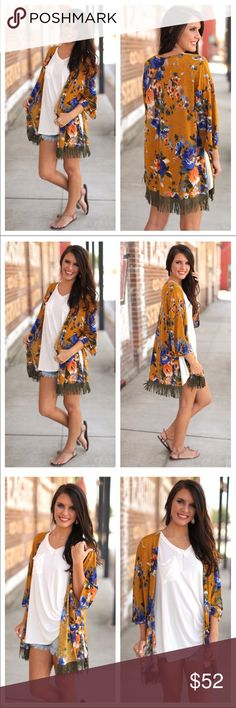 Boho Chic Fringed Kimono This cute kimono is perfect for dressing up a casual summer outfit!! It was made in the USA  and is 96% polyester and 4% spandex. I only have three coming and these won't last long!! Tops
