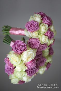 Lilac and Cream bouquets. Blue and it would be perfect!