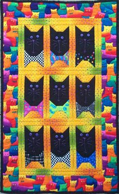Appliqued cat quilt. - Crafts - Free Craft Patterns - Craft Ideas