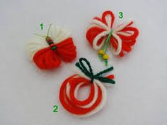 Резултат с изображение за мартеница Diy Crafts Hacks, Decor Crafts, Diy And Crafts, Arts And Crafts, Paper Crafts, Baba Marta, Felt Tree, Fringes, Craft Activities
