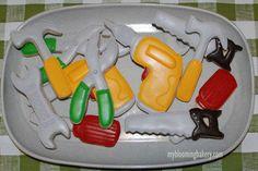 Tool Cookies by Sugarcookiesbybritt on Etsy Cookie Time, Tool Box Cake, Personalized Cookies, Rolled Sugar Cookies, Tree Nuts, Cake Cookies, Food Allergies, Baked Goods, Cake Decorating