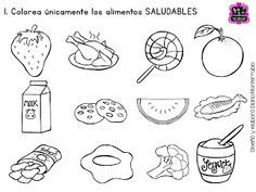 Alimentos Saludables Y Alimentos Chatarra Para Colorear Health
