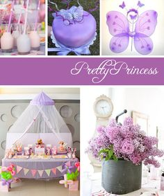 Lilac Princess Party |  Birthday party or celebration any little girl would want.  Creative table scape, decorations & party theme ideas.  DIY girly photo background, prop & booth you can. Perfectly girly accent with draped tulle, bunting & fairy wings.  Garden or tea party ideas.