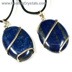 Crystal Pendants - Lapis Lazuli Cabochon Pendant (Wrapped)- Lapis Lazuli - Healing Crystals