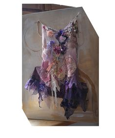 Unique ArtTo Wear Silk Top by Paulina722 purple lace shabby glam altered couture
