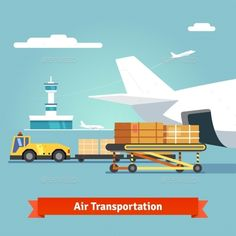 Loading boxes to a preparing to flight aircraft with platform of air freight. Air cargo transportation concept. Flat style illustr