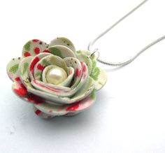 Hardened Fabric Floral Rose Necklace with Faux Pearl made by Diane Taylor Textile Designer Maker