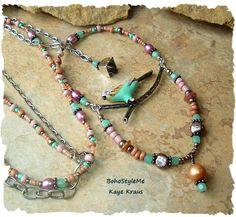 Blue Budgie Necklace, Multiple Strand Enamel Parakeet Necklace, Boho Style, Bohemian Jewelry, BohoStyleMe, Kaye Kraus by BohoStyleMe on Etsy