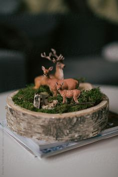 Rustic, natural table decoration with deers
