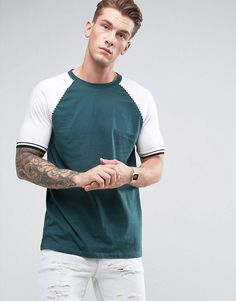Asos Longline T-Shirt With Raglan Sleeves And Twisted Piping In Green Latest Fashion Clothes, Latest Fashion Trends, Fashion Online, Asos Online Shopping, Online Shopping Clothes, Burton Menswear, Best Brand, Polo Ralph Lauren, Women Wear