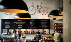 Loading Bay - South Africa - via Petite Passport Cafe Bistro, Cafe Bar, Cafe Restaurant, Restaurant Design, Cafe Design, Store Design, Coffee Restaurants, Bar Interior, Cafe Shop