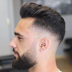 Short Blowout Haircut - Best Blowout Haircuts For Men: Cool Men's Blowout Taper Fade Hairstyles Modern Pompadour, Pompadour Fade, Pompadour Hairstyle, Hairstyle Men, Beard Styles For Men, Hair And Beard Styles, Short Hair Styles, Fade Styles, Blowout Haircut