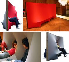 Here's another unique sofa design that will most likely never make it past the concept stage. The 'Behind The Wall' is a two-sided piece of furniture that's supposed to function both as a wall dividing the room in half and as a sofa. A large, flexible membrane covers both sides and not only provides a comfortable place to sit but also allows people on either side to interact with each other.