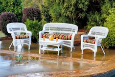 Havenside Home Lincolnville Outdoor Seating Set with Coastal White Wicker (Blue/Multicolor), Patio Furniture (Steel)