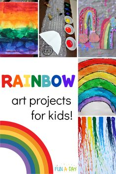 There are so many ways to make a rainbow! Check out these beautiful rainbow art projects for preschool, kindergarten, and older kids, too! There's also a great list of other spring art projects. Rainbow Activities, Early Learning Activities, Spring Activities, Preschool Activities, Preschool Kindergarten, Summer Arts And Crafts, Easy Arts And Crafts, Spring Art Projects, Projects For Kids