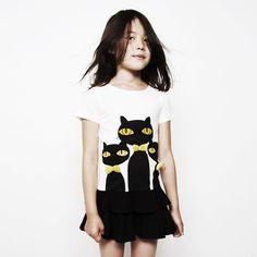 Cats tee dress from Mini Rodini