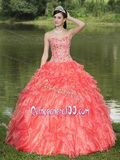 Orange Red Sweetheart Ruffles Accent Beaded Sweet 15 Dresses