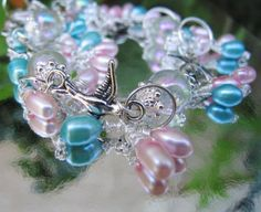 Birds and Pearls Silver Charm Bracelet by AudreyGardenLady on Etsy, $21.00