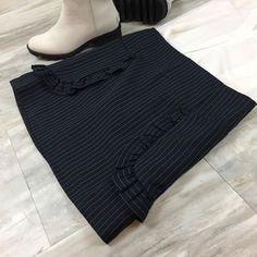 Romeo & Juliet Couture Skirts | Romeo Juliet Couture Navy Pinstripe Ruffle Skirt | Poshmark Ruffle Skirt, Ruffle Trim, Ruffles, Romeo And Juliet, Legs Open, Dark Navy, Blossoms, Stripes, Couture