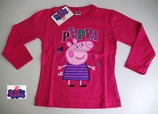 Simpatica t.shirt girocollo bimba manica lunga Peppa Pig  originale  Colore Fuxia Comp.100% cotone  Made in Italy Taglie 2-3-4-5-6-8 anni