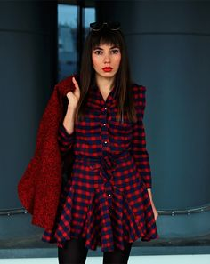 new post: https://jointyicroissanty.blogspot.com/  Plaid shirt dress with wool biker jacket and biker boots. Check my new post.  #fashion #streetstyle #ootd