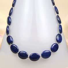20 Inch Deep Blue Lapis Sterling Silver Necklace