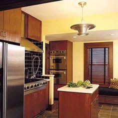 Soft Yellow Paint Colors For Kitchen kitchen ideas design Dark Wood Kitchens, Rustic Kitchen Cabinets, Old Kitchen, Green Kitchen, Kitchen Colors, Yellow Kitchens, Kitchen Ideas, Kitchen Paint, Kitchen Reno
