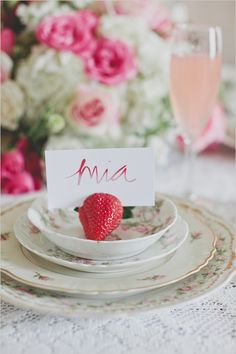 placecard, wedding parties, escort cards, strawberry place cards, name cards, bridal shower ideas, wedding place cards, strawberri, bridal showers