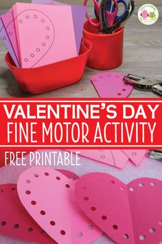 Are you looking for a fun Valentine's Day activity for kids? Kids can cut out paper hearts and use a hole punch to complete them. Perfect for your preschool, pre-k, kindergarten, or SPED classroom via Learn Preschool Valentine Crafts, Kinder Valentines, Valentine Theme, Valentines Day Activities, Valentines Day Party, Diy Valentine, Activities For Kids, Valentines Day Crafts For Preschoolers, Valentines Art For Kids