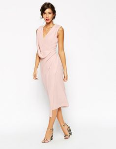 Image 3 of ASOS WEDDING Wrap Drape Midi Dress