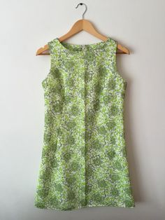 1960s Style Green Floral Nylon Shift Dress by stylesixties on Etsy